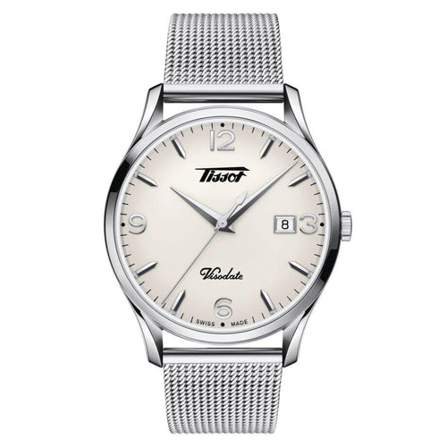 Tissot TISSOT Heritage Visodate Silver Opalin Quartz EOL Energy Men's Watch - Stainless Steel - Gemorie