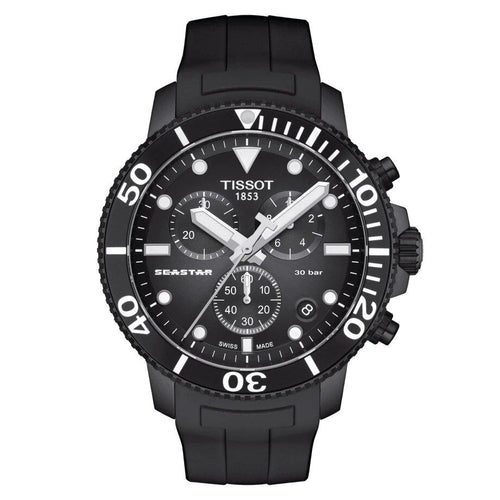 Tissot TISSOT Seastar 1000 Chronograph Anti-Reflective Sapphire Crystal Watch - Black - Gemorie