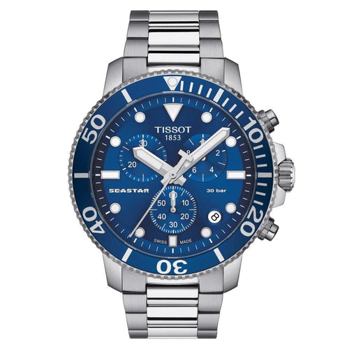 Tissot TISSOT Seaster 1000 Chronograph Unidirectional Aluminum Bezel Men's Watch - Stainless Steel - Gemorie