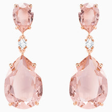 Load image into Gallery viewer, SWAROVSKI Vintage Drop Pierced Earrings - Pink & Rose Gold Tone Plated