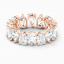 Load image into Gallery viewer, SWAROVSKI Vittore Pear Ring - White & Rose Gold Tone Plated