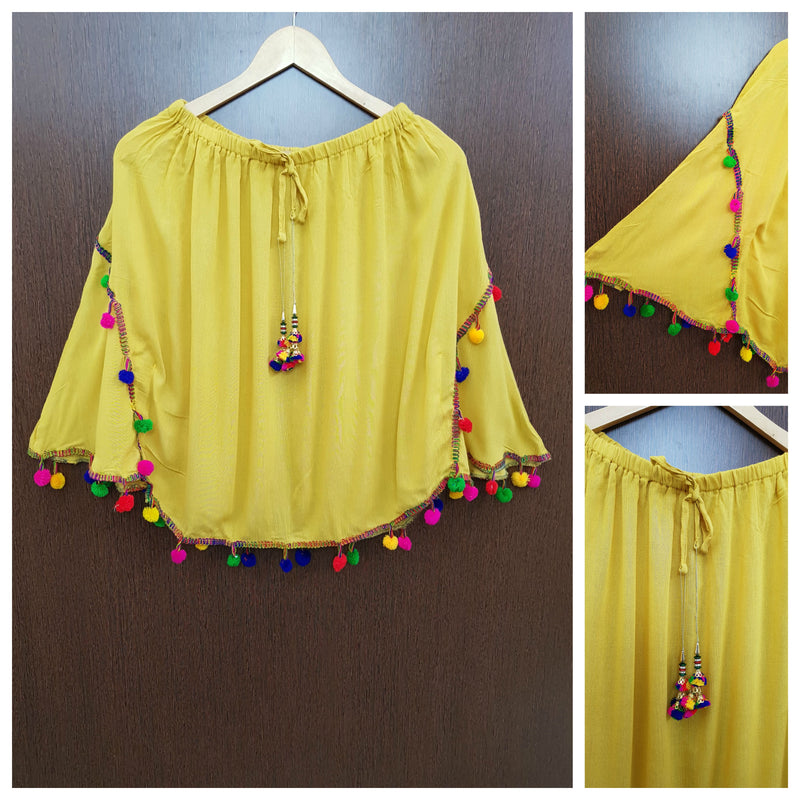 Stylish Colorful Pom Pom Plain Poncho Top - Mustard yellow