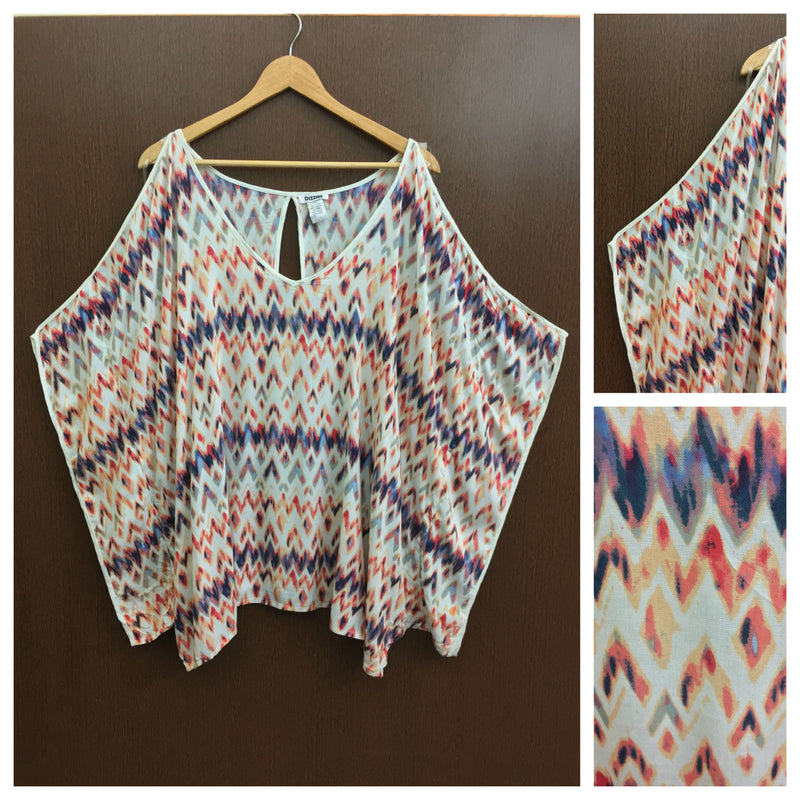 Grey Orange Zig Zag Printed - Arm Revealing Poncho Top