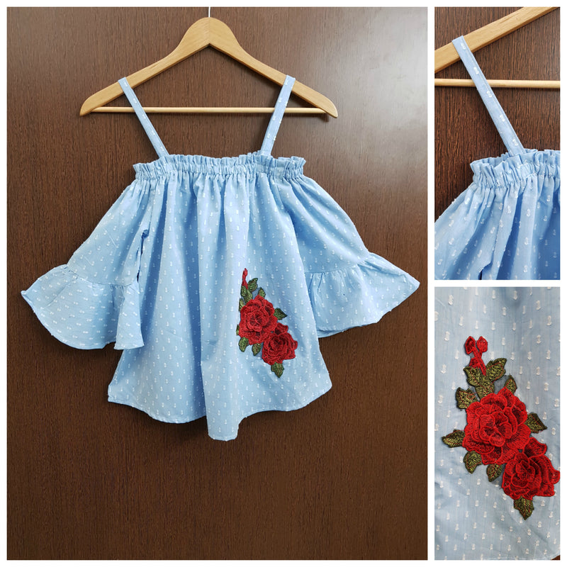 2 Flowers - Cold Shoulder Blue Top