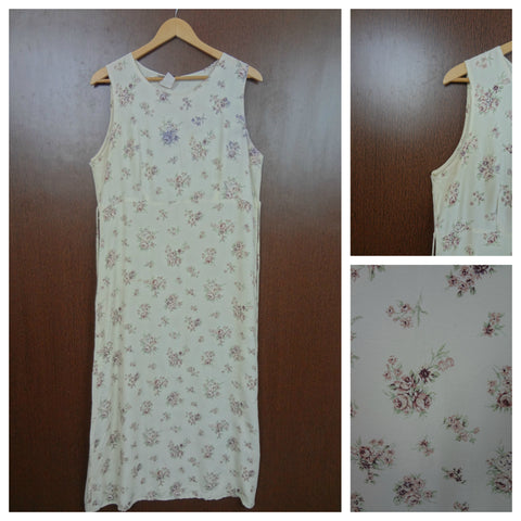 Brown Bunch Of Flowers On Cream Sleeveless Dress