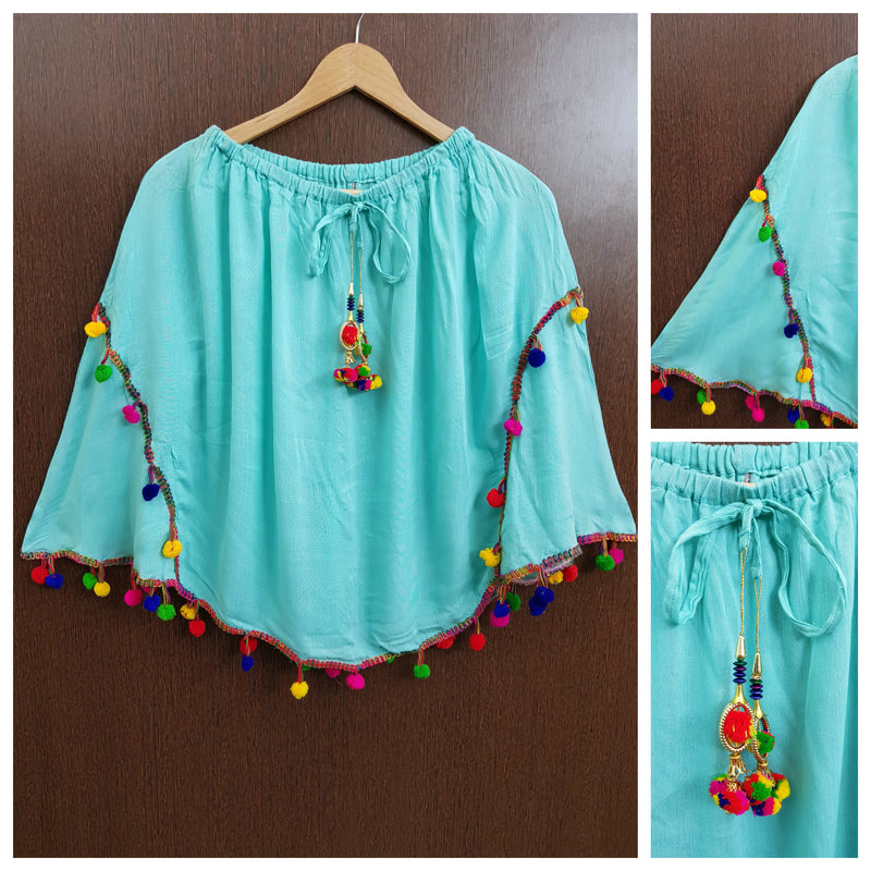 Stylish Colorful Pom Pom Plain Poncho Top - Light Blue