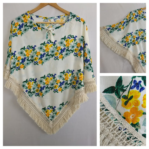 Poncho Style Yellow Floral Panel Top with Tassels