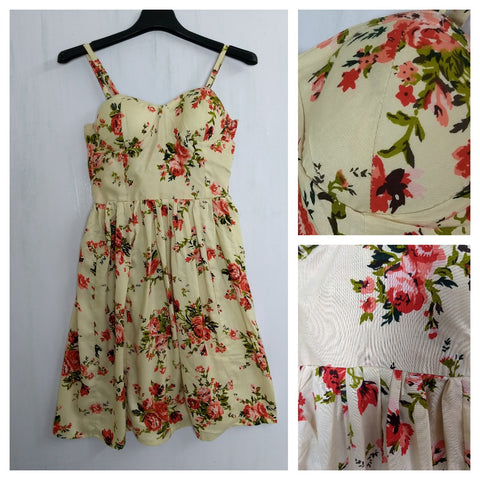 Bunch of Red Pink Flowers on Light Brown Printed Spaghetti Dress with adjustable straps