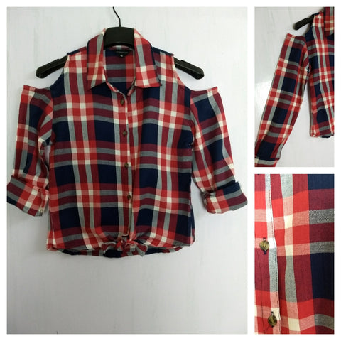 Checked Cold - Shoulder - Blue Red White Check Shirt with front knot