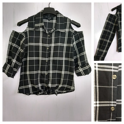 Checked Cold - Shoulder - Black & White (Black Major) Check Shirt with front knot