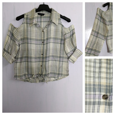 Checked Cold - Shoulder - Cream and Grey Check Shirt with front knot