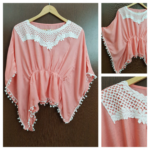 Front Square Lace and White Pom Pom - Poncho Top - Elastic on Waist - Light Pink