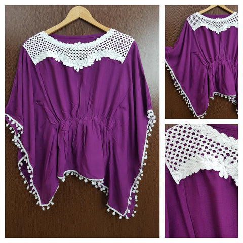 Front Square Lace and White Pom Pom - Poncho Top - Elastic on Waist - Purple
