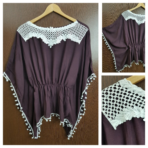 Front Square Lace and White Pom Pom - Poncho Top - Elastic on Waist - Wine