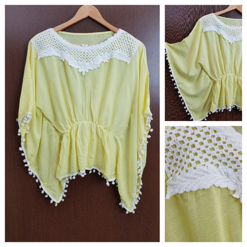 Front Square Lace and White Pom Pom - Poncho Top - Elastic on Waist - Lemon Yellow