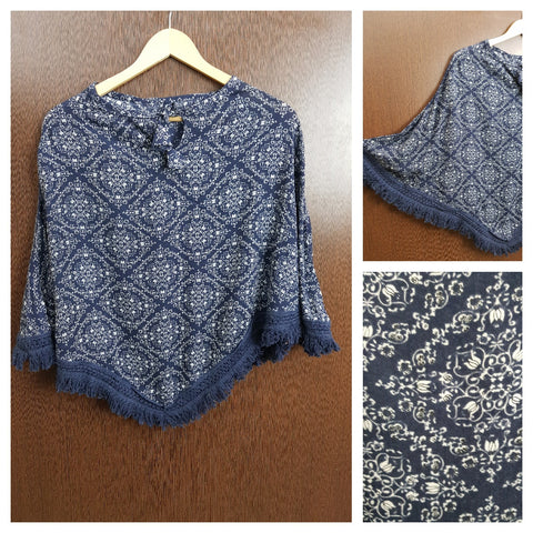 Blue Tasseled - Rhombus Prints on Blue Poncho Top