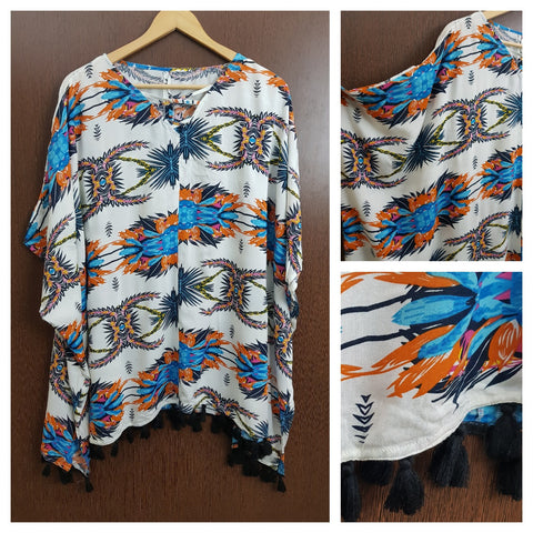 Vibrant Blue , Orange Printed Tasseled Poncho Top