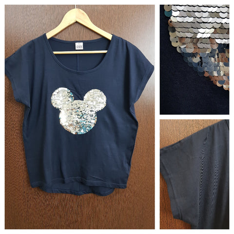 Silver Mickey on Navy Blue - Tee