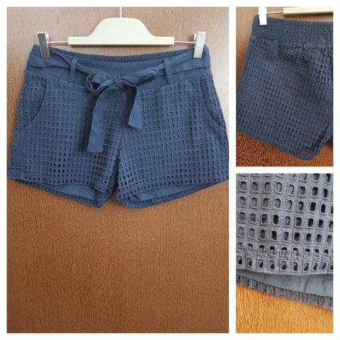 Boxed Cut Work - Navy Blue Shorts