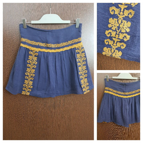 Washed Out Purple Skirt with Mustard Thread Work