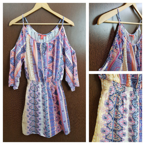 Orange , Blue , Purple Panel Printed - Cold Shoulder Dress