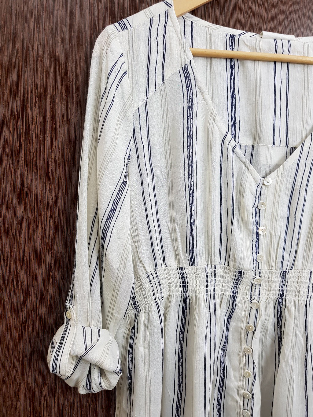 Thin Stripes Cream Top with Elastic on Waist