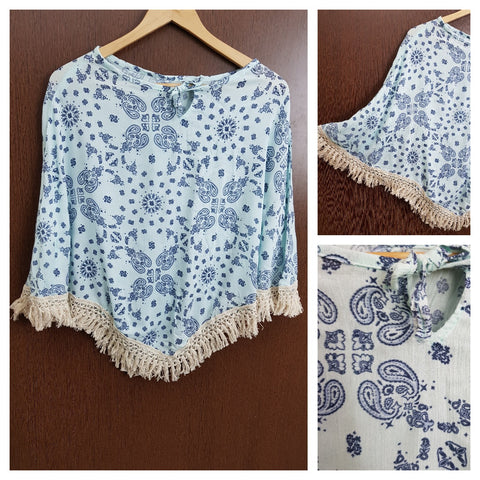 Tasseled - Dark Blue Prints on Light Blue Poncho Top