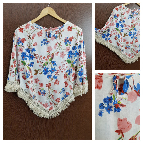 Tasseled - Pink , Blue Flowers on White Poncho Top