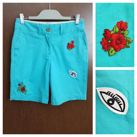 Patched Shorts- Teal Floral - Eye Shorts