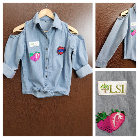 Patched - Denim Cold - Shoulder - Shirt with front knot - Strawberry POW!