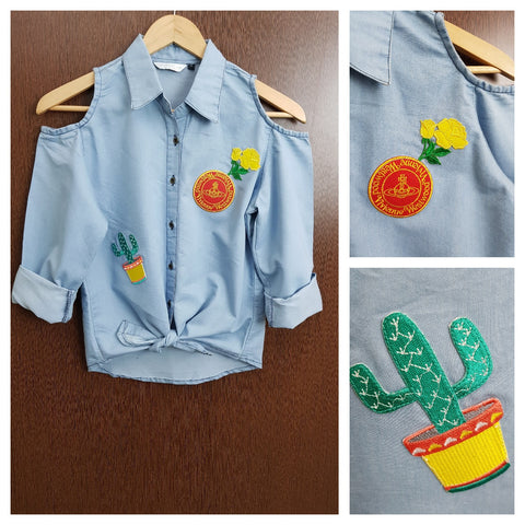 Patched - Denim Cold - Shoulder - Shirt with front knot - Westwood Cactus