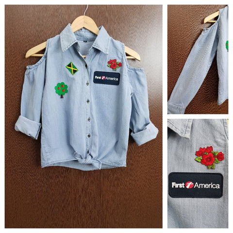 Patched - Denim Cold - Shoulder - Shirt with front knot - Apple tree First America