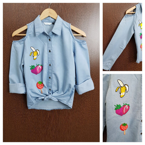 Patched - Denim Cold - Shoulder - Shirt with front knot - Banana Strawberry