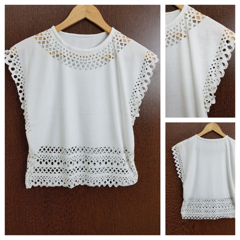 Light and Summery Laser Cut Top - White