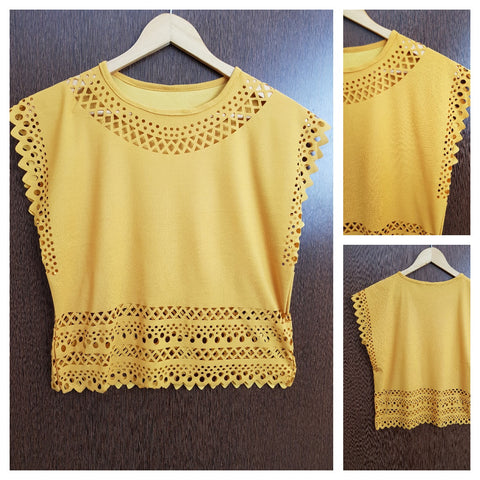 Light and Summery Laser Cut Sleeveless Top - Yellow