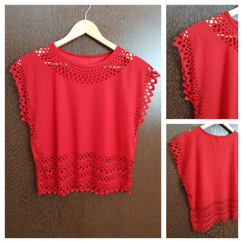 Light and Summery Laser Cut Sleeveless Top - Red