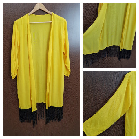 Tasseled - Plain Long Shrug - Yellow