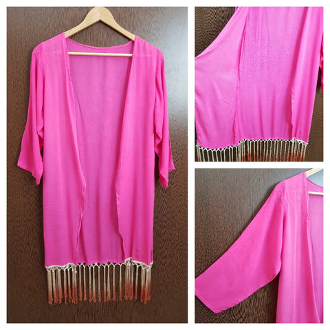 Tasseled - Plain Long Shrug - Pink