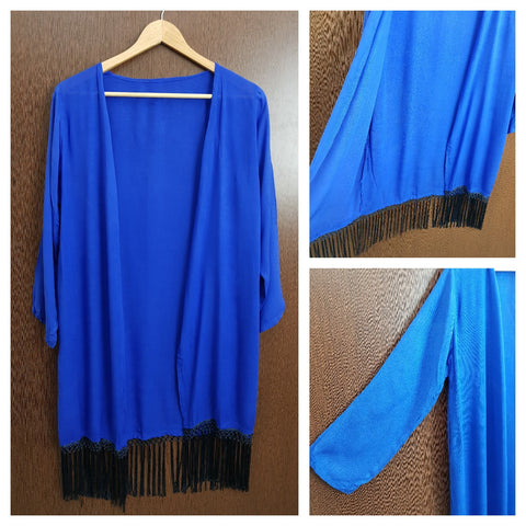 Tasseled - Plain Long Shrug - Royal Blue