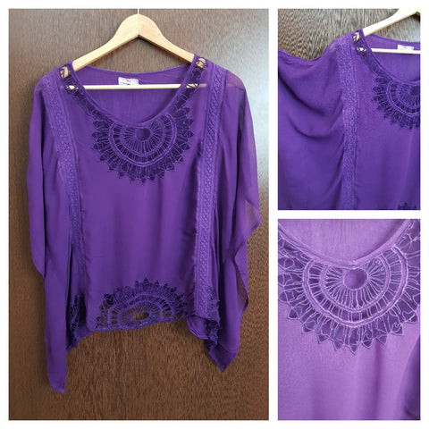 Causal Poncho Top - Purple