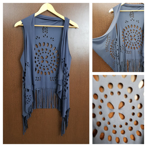 Tasseled - Laser Cut Out Stylish Shrug - Grey