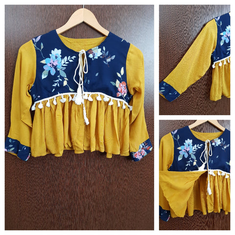 Front Open - Tasseled - Flared Top - Pretty Blue Flowers On Yellow
