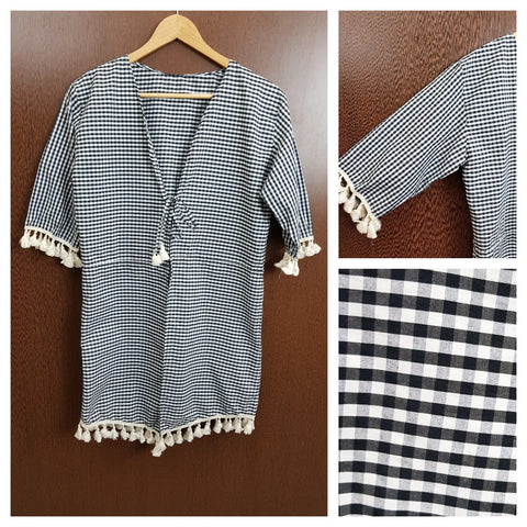 Tasseled Front Tie - Black & White Checked Shrug