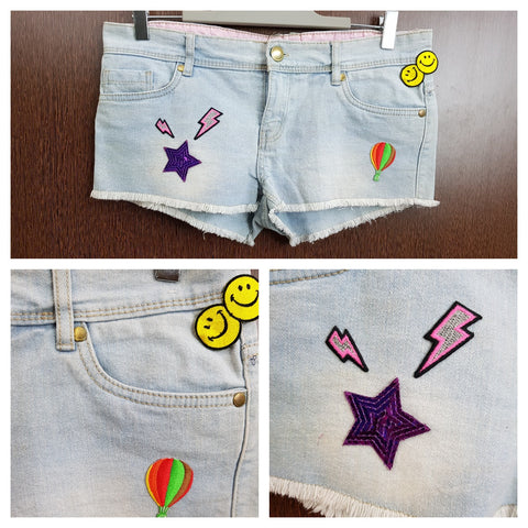 Patched -  Washed out Denim Shorts - Stars Smiley