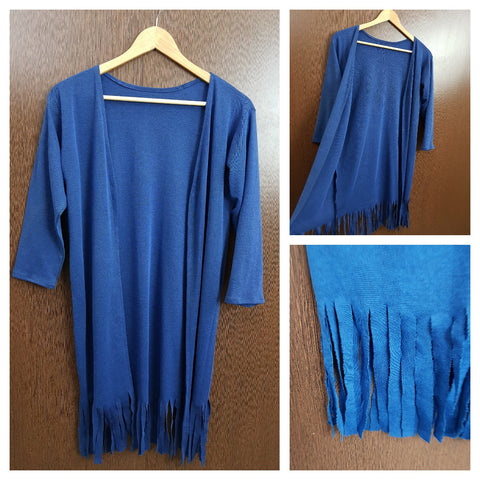 Tasseled - Woven Shrug - Blue
