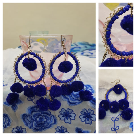 Navy Blue pom pom Earrings