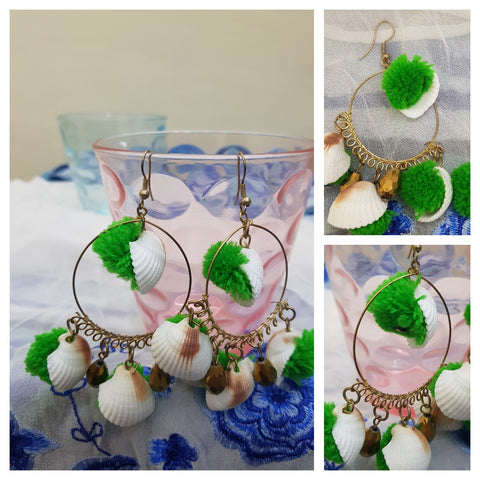 Green pom pom & Shell Earrings