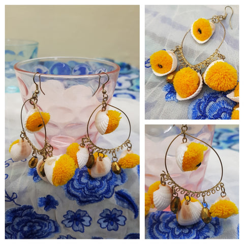Orange pom pom & Shell Earrings