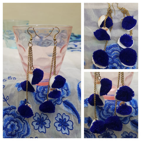 Navy Blue pom pom & Shell Earrings