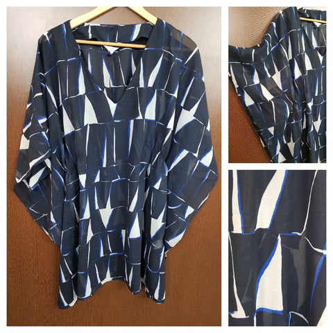Stylish White & Royal Blue Prints On Navy Blue Poncho Top